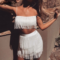Sexy Red Party Tassel Two Pieces Set Women Outfits Clubwear White Bandage 2 Piece Dress Sets with Spaghetti Strap Short Crop Top