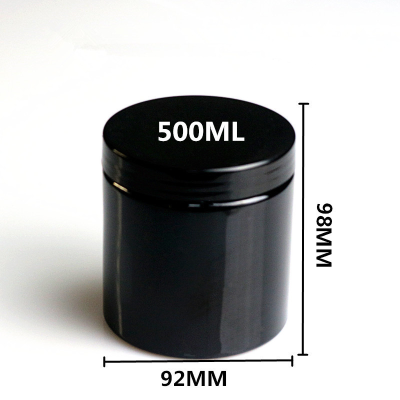 20pcs 500ml empty black round plastic display pot cosmetic cream jar balm container sample container packaging
