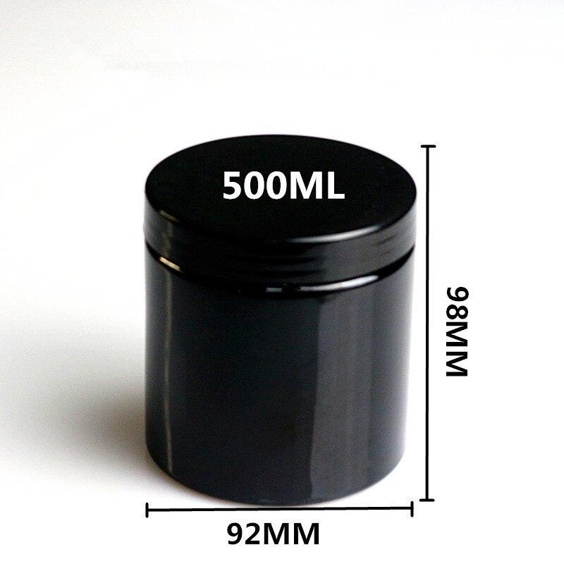20 قطع 500 ملليلتر فارغة الأسود جولة البلاستيك عرض وعاء برطمان كريم التجميل علبة بلسم عينة الحاويات التعبئة والتغليف-في زجاجات التعبئة من الجمال والصحة على  مجموعة 1
