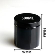 20 個 500 ミリリットル空黒ラウンドプラスチックディスプレイポット化粧クリームジャー容器サンプル容器包装