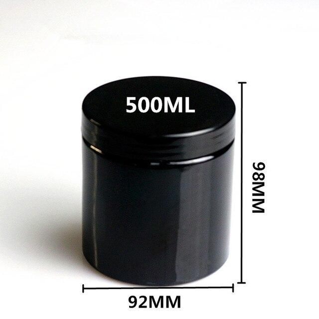 20pcs 500ml vuoto nero rotondo di plastica di visualizzazione vaso cosmetico vaso crema balsamo per le labbra contenitore del campione contenitore di imballaggio