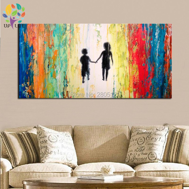 Hand Painted Figure Canvas Wall Painting Little And Boy Oil Paintings Banksy Style Abstract Living Room Decoration Art
