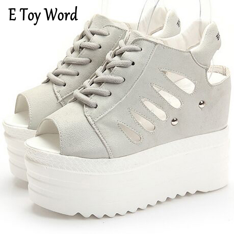 E TOY WORD Creeper Hollow Out Gladiator Sandals Silver Women Ankle Boots Casual Shoes Woman Summer Slip On Women's Sandals phyanic platform gladiator sandals 2017 new casual wedge shoes woman summer women ankle boots side zipper party shoes phy5036
