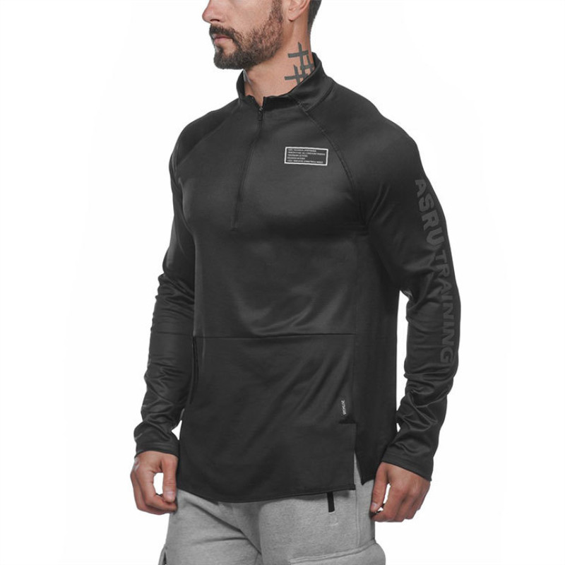 2019 Autumn Running Men Sports Long Sleeve Hoodies Sweatshirt Hoodies Zipper Neck Slim Sweatshirts Male Gym Training Pullover