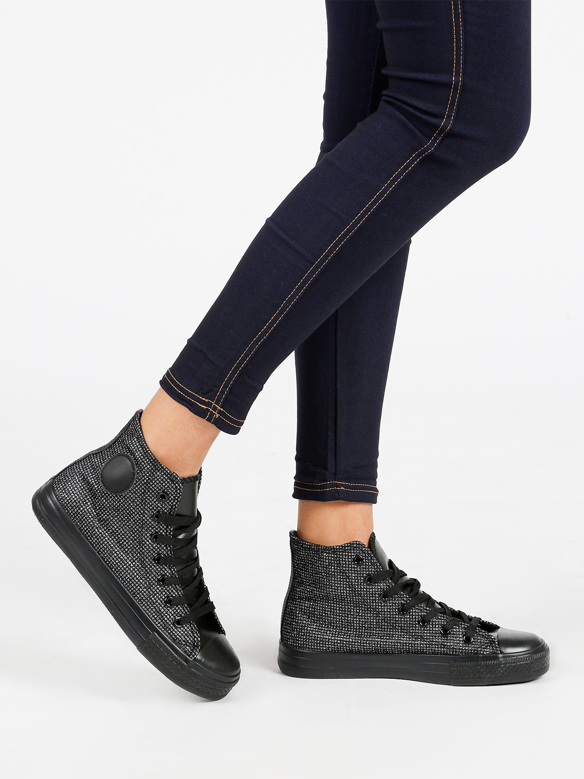 Black Ankle-high Sneaker Woman Casual Mathcing