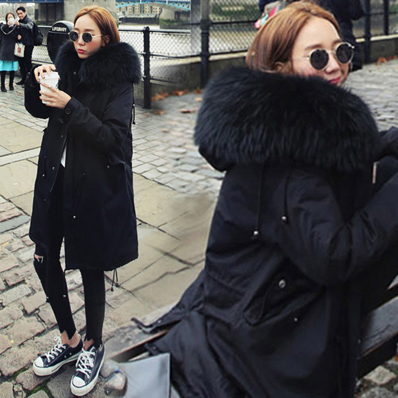 Korean Women New Style Trendy Parkas Female Casual Thickening Warm Pockets Outerwear Womens Winter Solid Coat Females Overcoat hijklnl 2017 new winter female cotton jacket long thicken coat casual korean style women parkas overcoat hyt002