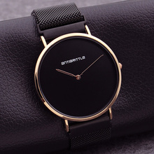 Fashion Japan Quartz Man Luxury Watch Woman Black Ultra Thin Rose Gold Simple Leather Magnet Mesh Stainless Steel Waterproof New japan quartz luxury black dial watch women rose gold roman mesh ultra thin stainless steel magnet band waterproof antibrittle
