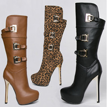 Fashion girls's footwear style strap aspect zipper transient spherical toe extremely excessive heels boots high-leg