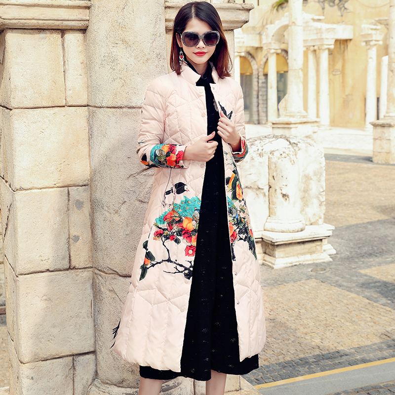 Chinese style print single breasted slim a line X-long white duck donw   coats   2018 new stand neck women winter   down     coats