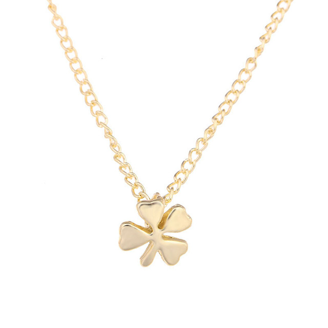 New fashion four leaf clover pendant necklace gold color hand new fashion four leaf clover pendant necklace gold color hand stamped necklace gifts for women girls aloadofball Choice Image