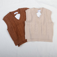 Wholesale Children's Sweaters Vests for Girls Spring Autumn Baby Girls Knit Waistcoat Tops Size 90 130cm 5 pieces RT213