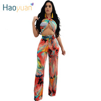 HAOYUAN Women Sexy Bandage Two Piece Set Off Shoulder Backless Printed Two Piece Set Top And