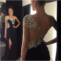 Sexy Black Long Sleeve High Slit Prom Dresse 2016 Floor Length See Through Chiffon Evening Party Gown For Graduation