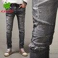 Kmo hombres vaqueros dsq d2 hombres clásicos de la moda agujero de anclaje en skinny jeans hombres de hierro de alta calidad