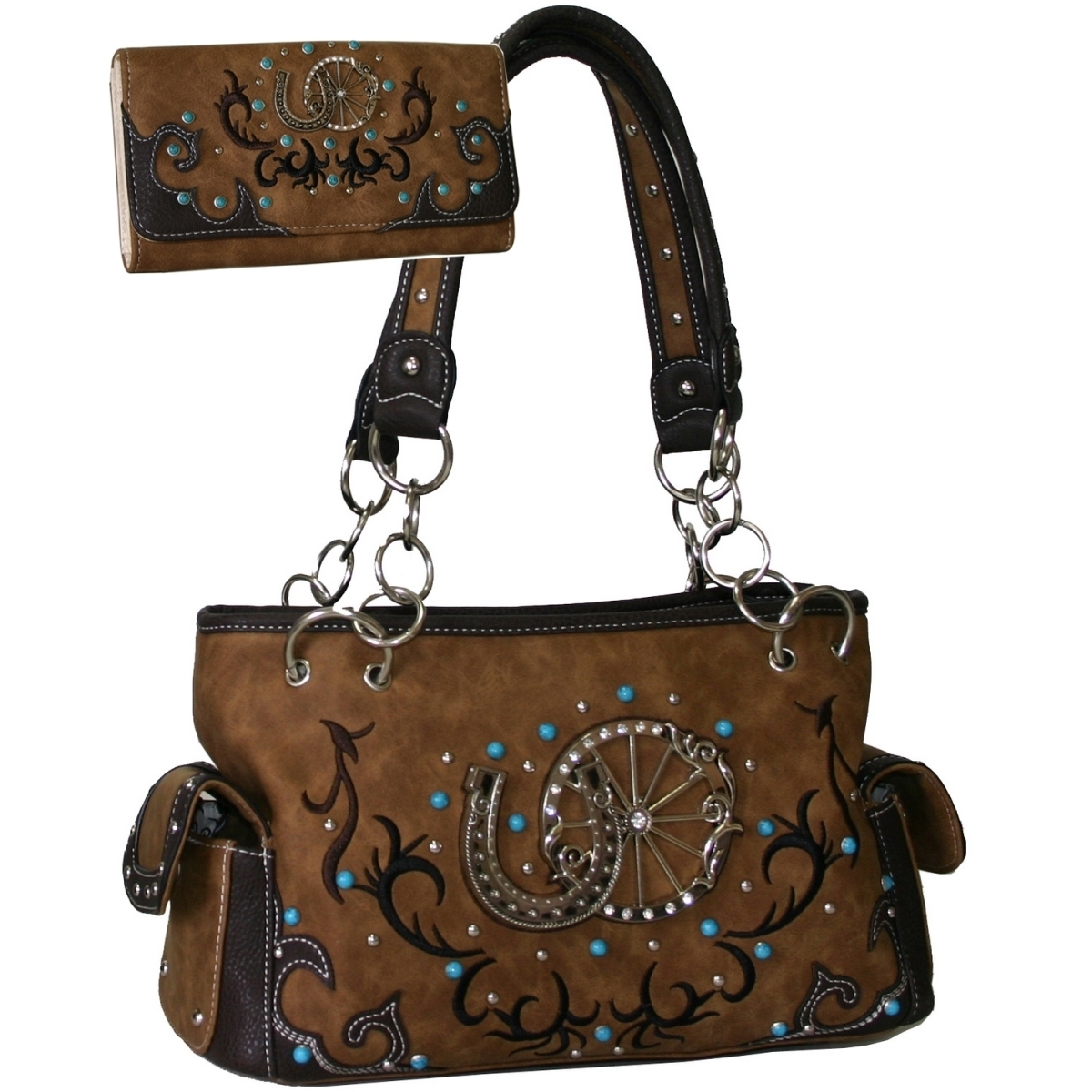Gold Rush B501SET-TAN Western Studded Shoulder Bag with Matching Wallet - Tan modalu london mh6145 tan