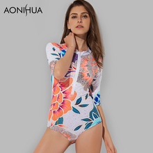 AONIHUA 2018 New Printed Floral Sex High Cut One Piece Swimsuits Women Push up Mid sleeve Surfing Swimwear female Bathing Suits