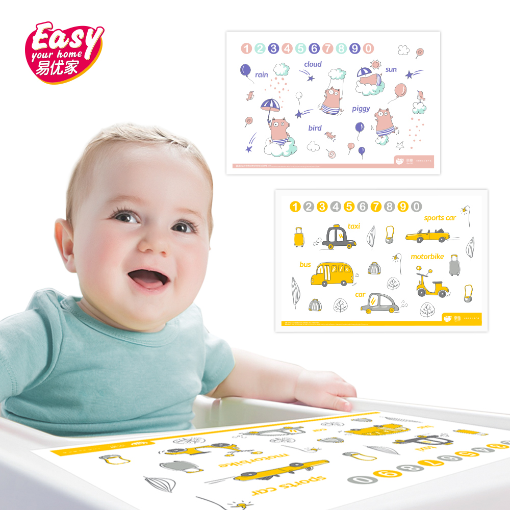 Disposable Baby Placemat Cute Cartoon Pattern Food Grade Infant Table Mat Portable Waterproof Sticky Placemats For Baby Feeding