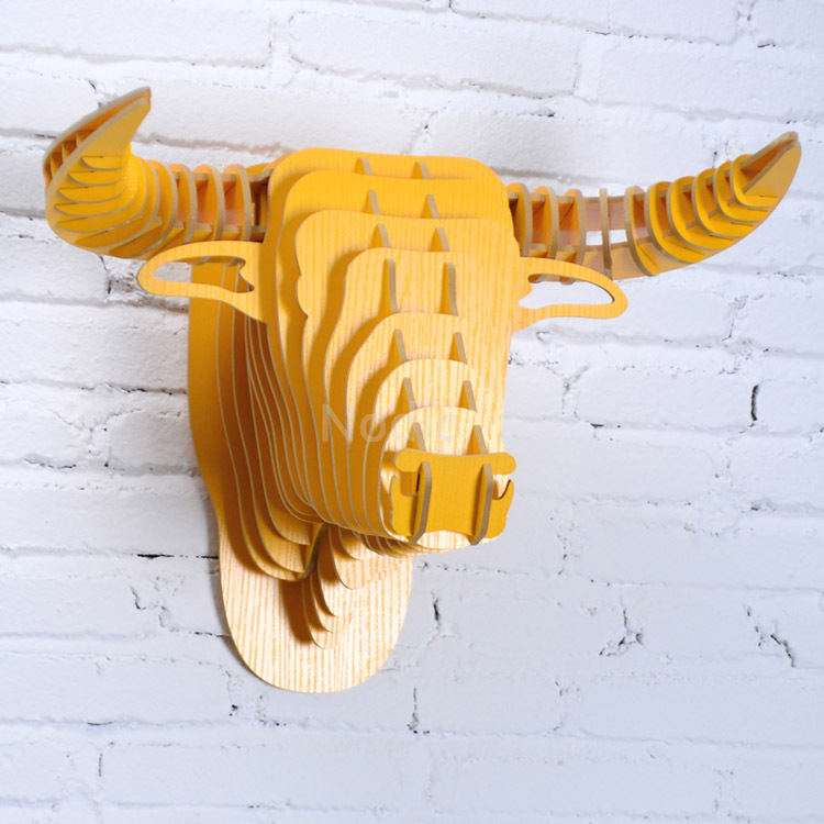 Yellow Bull Animal Head Wall Hanging Home Decoration,Carving Good ...