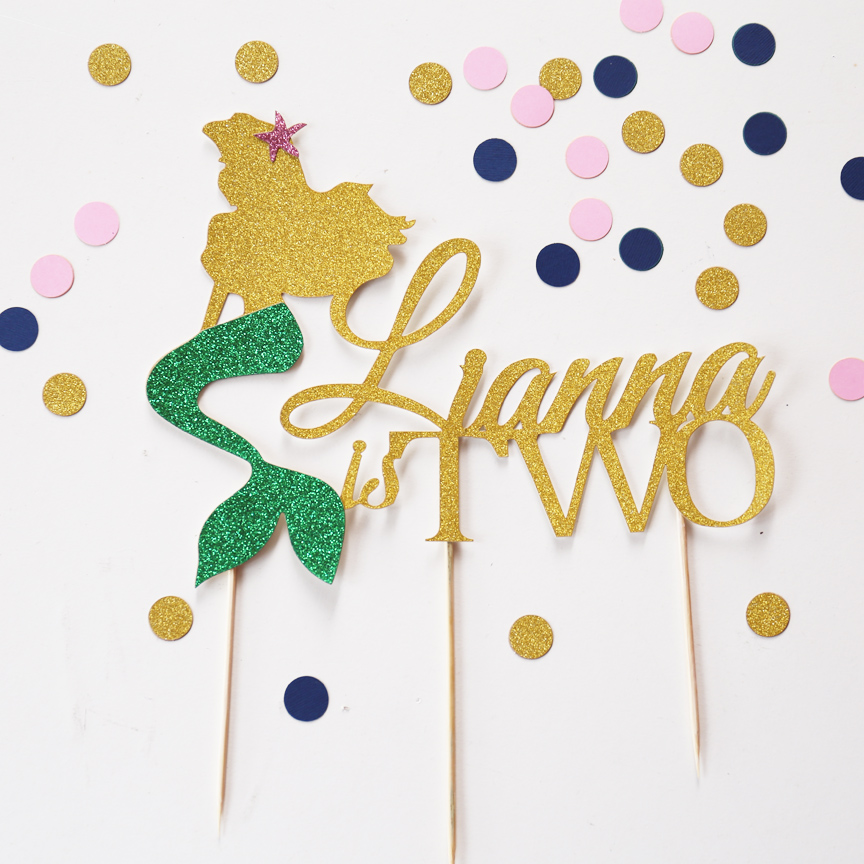 Cake Decoration Items Names : Personalized Age and Name Cake Topper, little mermaid ...