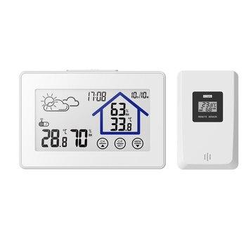 Baldr Station météo sans fil numérique tactile hygromètre humidité mètre température capteur thermomètre intérieur extérieur mur blanc