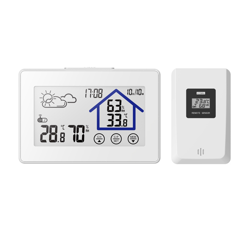 Baldr Wireless Weather Station Digital Touch Hygrometer Humidity Meter Temperature Sensor Thermometer Indoor Outdoor Wall White