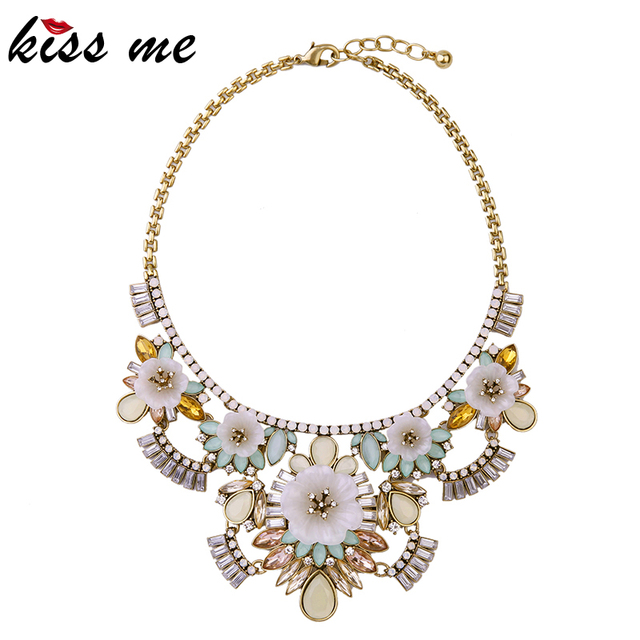 KISS ME Brand New Statement Necklace 2016 New Alloy Colorful Flowers Choker Jewelry Maxi Necklace