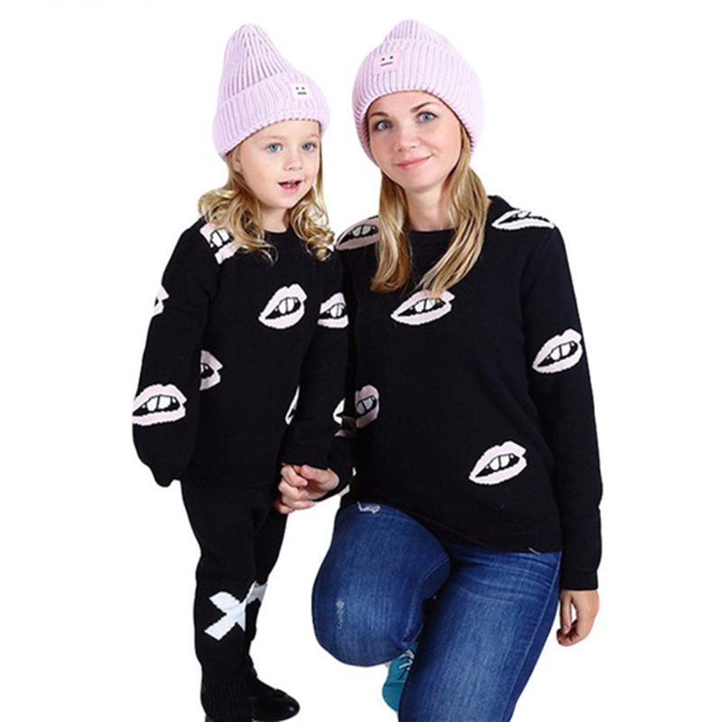Family Matching Outfits Family Style Baby Girls Sweater Lips Pattern Kids Sweater Long Sleeve Shirt Mother & Daughter Clothe F50