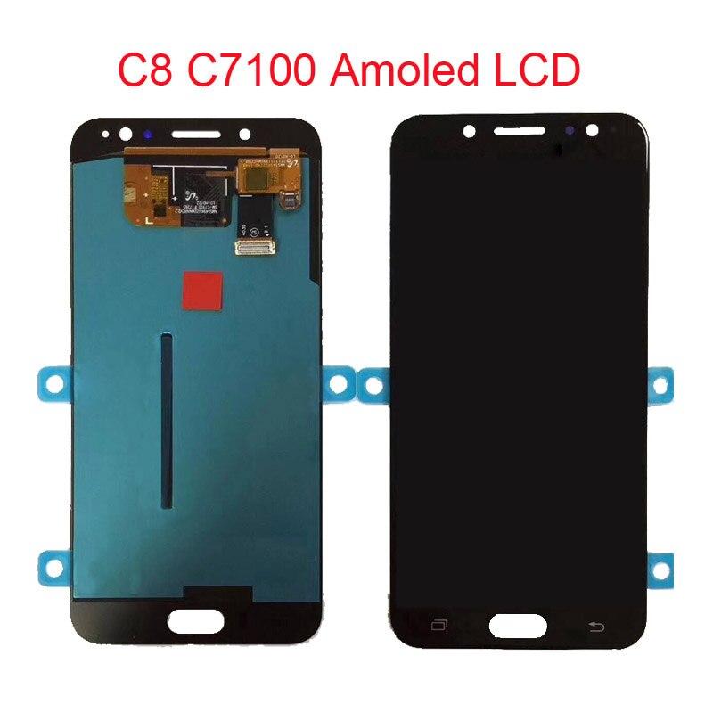 C8 Amoled ЖК-дисплей для samsung Galaxy C7 2017 C8 C7100 C710 ЖК-дисплей Дисплей Сенсорный экран планшета Ассамблеи C710F/DS J7 + J7 плюс Экран