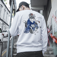 Aolamegs Men Hoodies Sweatshirts Kimono Cat Printed Fashion Pullover Harajuku Japanese Style Men Women High Quality