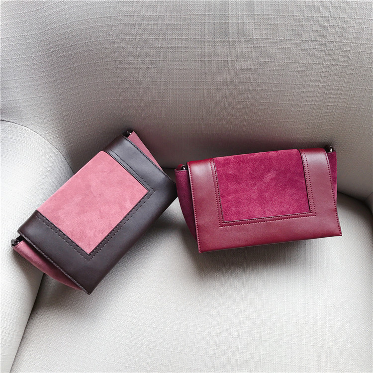 Femmes Petit Brown Nouveau À Sac red Pink Wine dark Main Pour Rose Rabat Croix Cuir Véritable En Shouder 1qY10FH