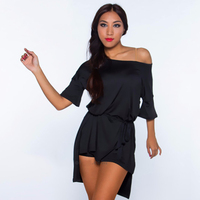 Ballroom Latin Dance Tops For Women Black Irregular Shoulder Split Vestido Salsa On Both Sides Latin Practice Wear Vesti DQ3213