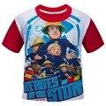 Atacado de moda de alta qualidade do algodão T-shirt Bombeiro Sam crianças meninos desenhos animados meninas roupa do bebê roupa das crianças T0049