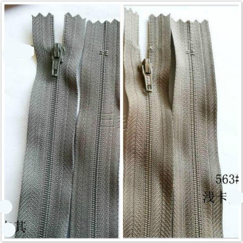 100 Pcs lot Most Free Shipping YKK Nylon Coil Zipper Khaki Close End for Pants Skirt