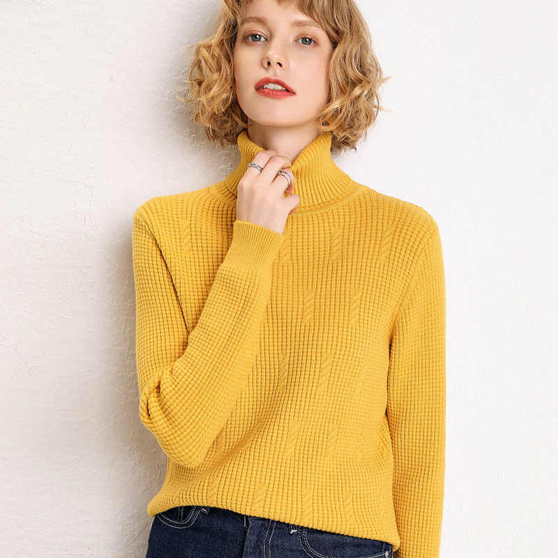 adohon 2019 woman winter 100% Cashmere sweaters and auntmun knitted Pullovers High Quality Warm Female thickening Turtleneck