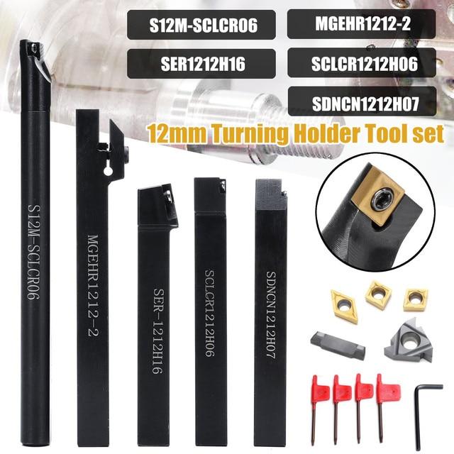 12Mm Shank 5Pcs Draaien Houder Tool Set Met Blade & Wrench Voor Draaigereedschap Draaibank & Cnc 40Cr gelegeerd Staal