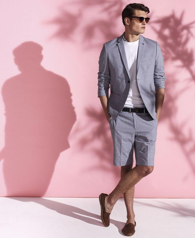 2017 Latest Coat Pant Designs Grey Men Suit Jacket Short