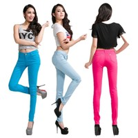 2015 Hot Fashion Sexy Candy Colors Women Spring Summer Pencil Pants Long Cotton Jeans Plus Size