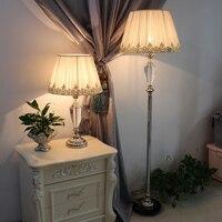 Тумбочка читальный зал фойе гостиная декоративные девушка принцесса настольные лампы Свет с Кристалл ткань тени настольная лампа для гост