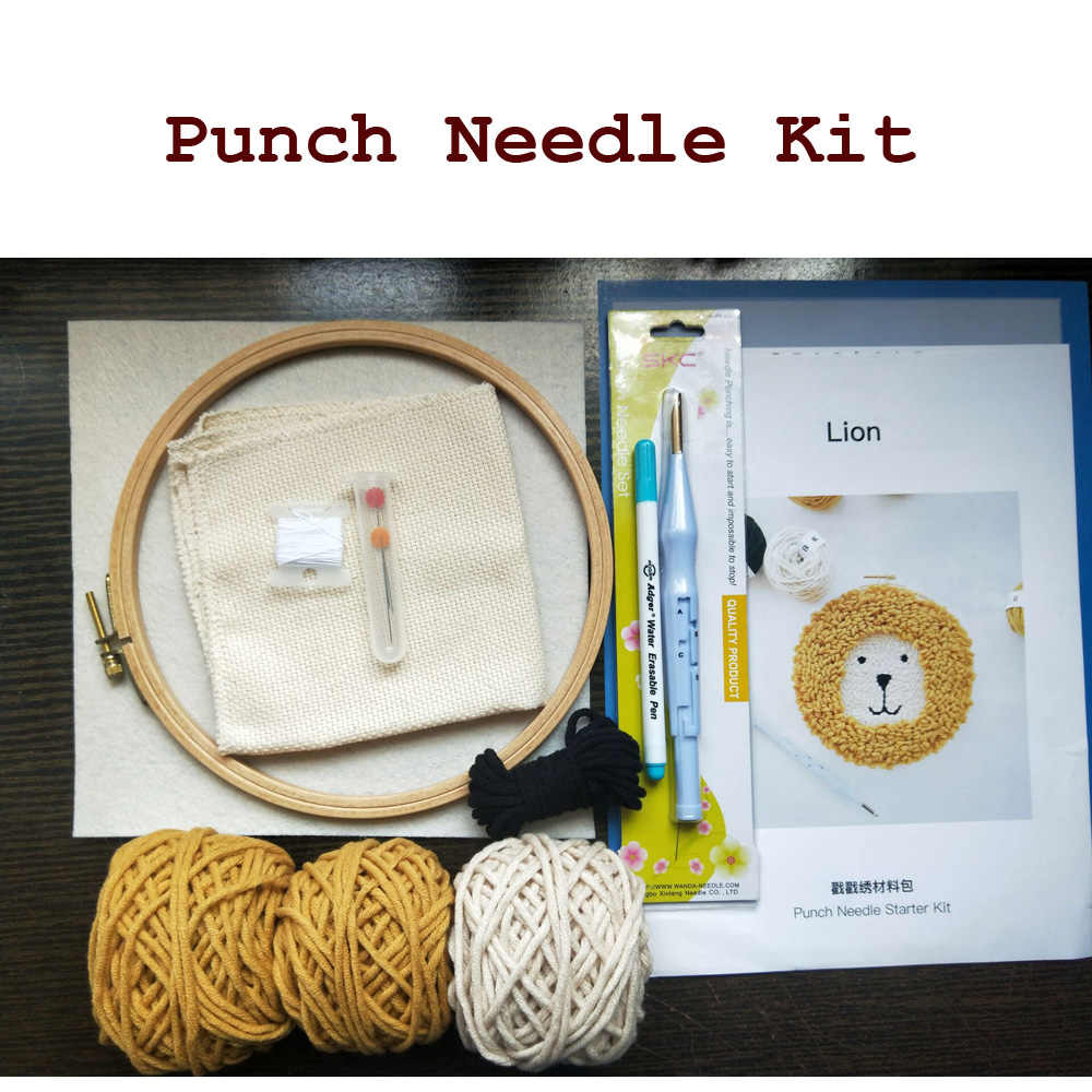 Punch needle kit /Lion Embroidery Stitching Punch Needle Craft DIY Set