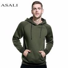 ASALI Brand 2018 Autumn Winter Army Green Hoodies Mens Casual hip hop Warm Fleece Coat Men Solid Sweatshirts Pullover Streetwear