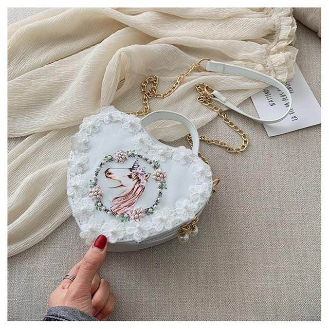 Unicorn Printed Lace Heart Mini Crossbody Bag