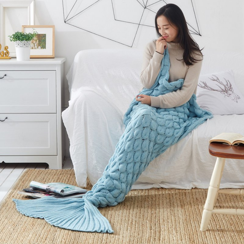 2018 Cover Mermaid Blanket Plaid Knitted Plaids Bed Cover Mermaids Tail Blanket Knit Crochet Sleeping Bag Warm