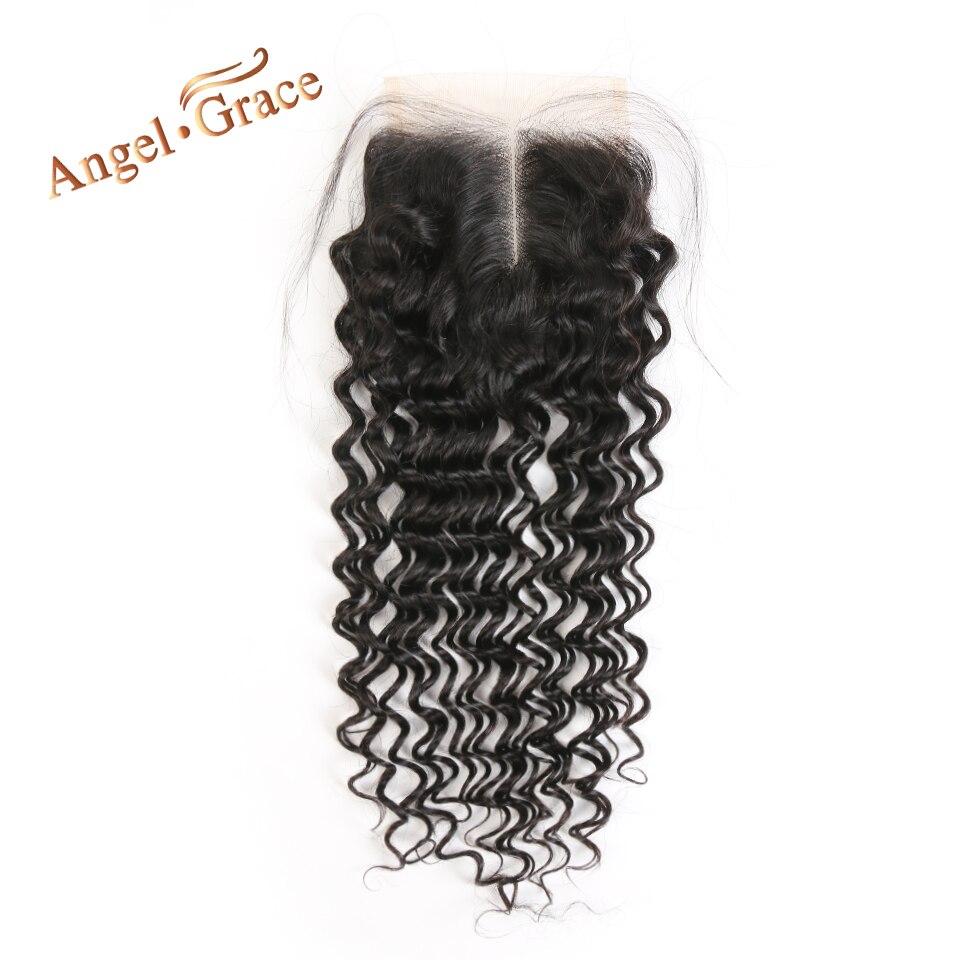 Angel Grace Hair Peruvian Deep Wave Closure Medium Brown Transparent Lace Middle Free Part Remy Human