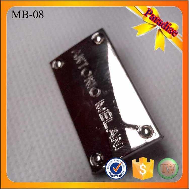 ... MB08 engraved designer custom metal label tags logo for leather bag  clothing ... 6cfed40b41082