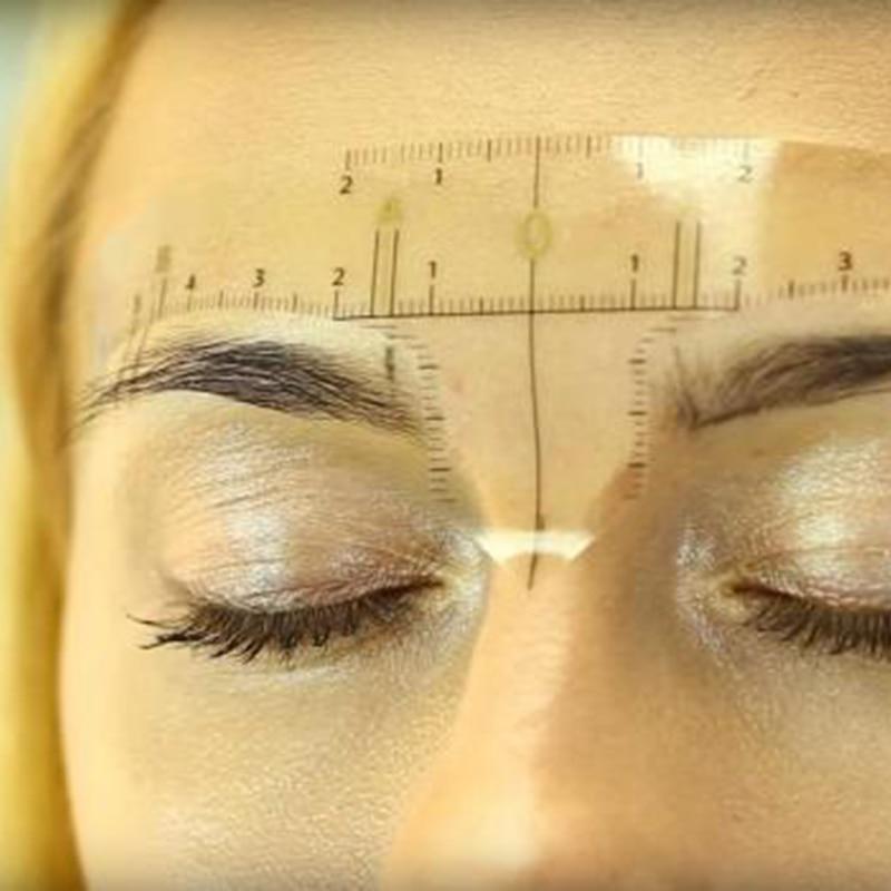 Купить с кэшбэком 2018 Sale Microblading Accesories Accurate Permanent Makeup Eyebrow Shaping Tools Measurement Ruler Sticker For Microblading 3d