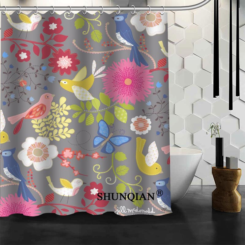 Best Nice Custom Birds Shower Curtain Bath Curtain Waterproof Fabric Bathroom Curtain MORE SIZE A6.1-99