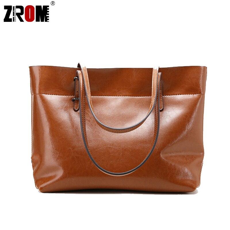 ZROM Big Bag Women Handbag Genuine Leather Oil Wax Cowhide Handbag Lady Real Leather shoulder Messenger