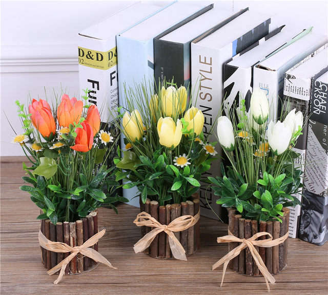 Online Shop Artificial Decorative Flowersvase Real Touch Tulip For