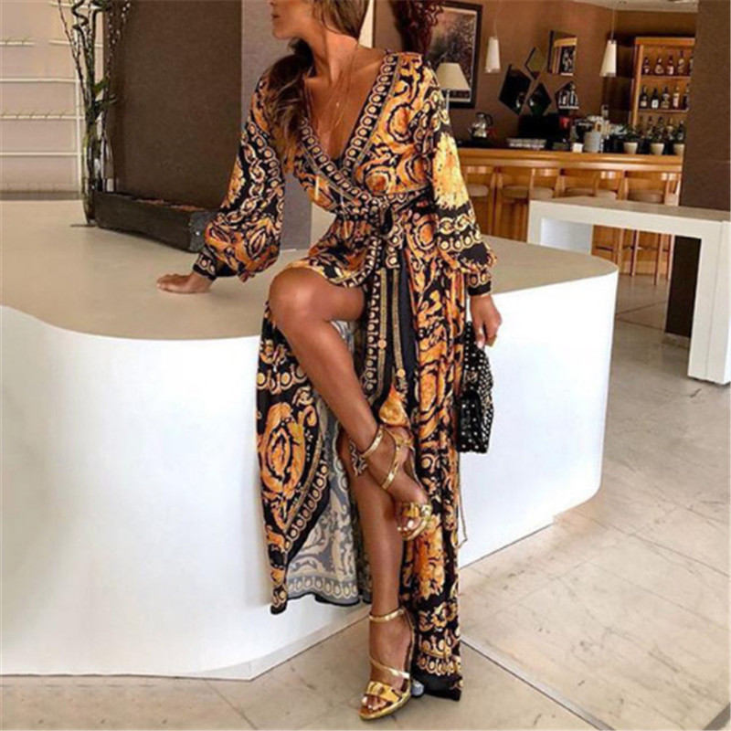 Bohemian Retro Floral Print Summer Dresses For Women Gold Color Long Sleeve V Neck Maxi Dress Women Beach Holiday Club Dresses bluzki z koronki duże rozmiary