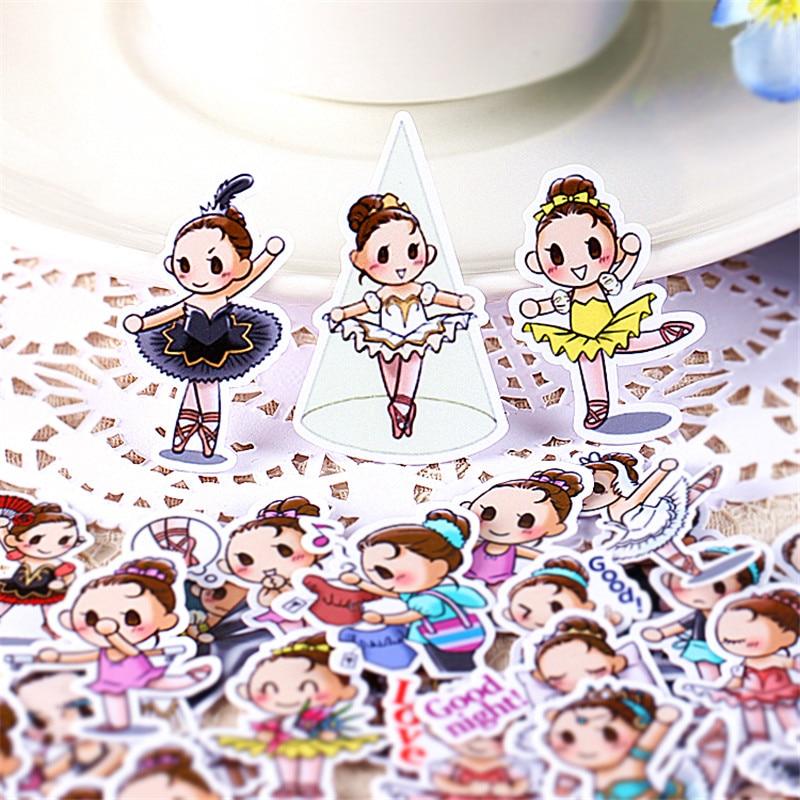 40 Pcs Ballet Girl Dancing Everyday Sticker For Kid DIY Laptop Suitcase Skateboard Moto Phone Car Toy Scrapbooking Stickers